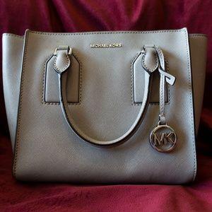 MK Selby Medium Leather Satchel Pearl Grey